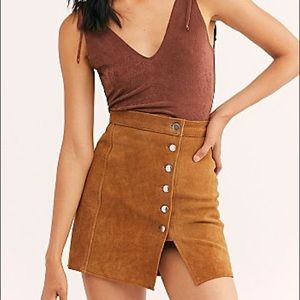 Free People Skirts - NEW Free People Understated Suede Leather Skirt XS